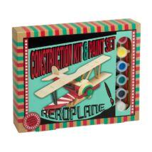 Repülőgép Professor Puzzle fa építő szett, festékkel