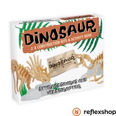 Styracosaurus & Velociraptor Professor Puzzle fa építő szett 2db-os
