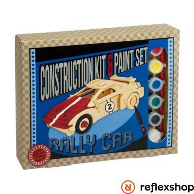 Rally autó Professor Puzzle fa építő szett festékkel