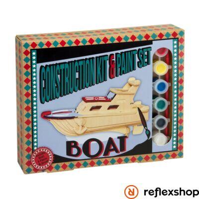 Hajó Professor Puzzle fa építő szett festékkel