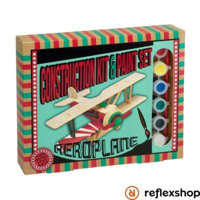 Repülőgép Professor Puzzle fa építő szett festékkel