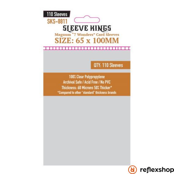 """Sleeve Kings Magnum  kártyavédő """"7 Csoda"""" társasjátékhoz (110 db-os csomag) 65 x 100 mm"""