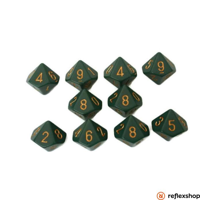 d10 kockaszett (10 kocka), zöld, arany számokkal