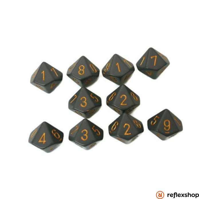 d10 kockaszett (10 kocka), szürke, réz számokkal