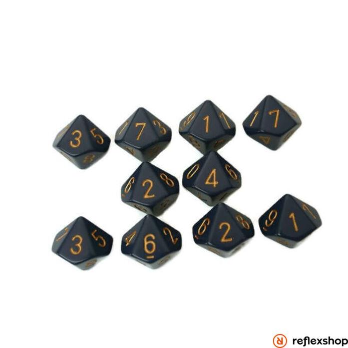 d10 kockaszett (10 kocka), kék, arany számokkal