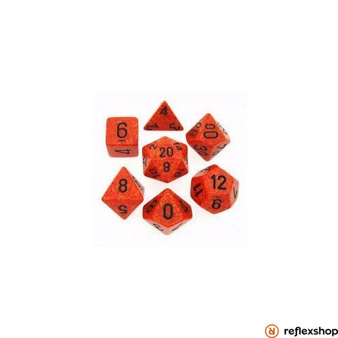 Többoldalú kockaszett (7 kocka), foltos, fire