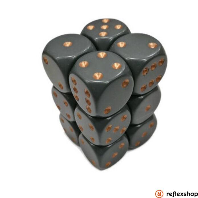 d6 kockablokk (12 kocka), fekete, arany pöttyös