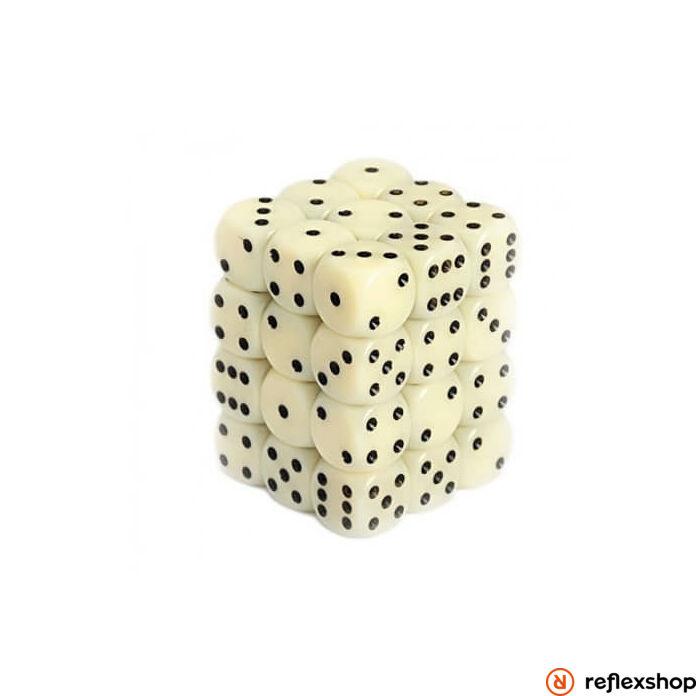 d6 kockablokk, kis kockákkal (36 kocka), elefántcsont, fekete pöttyös