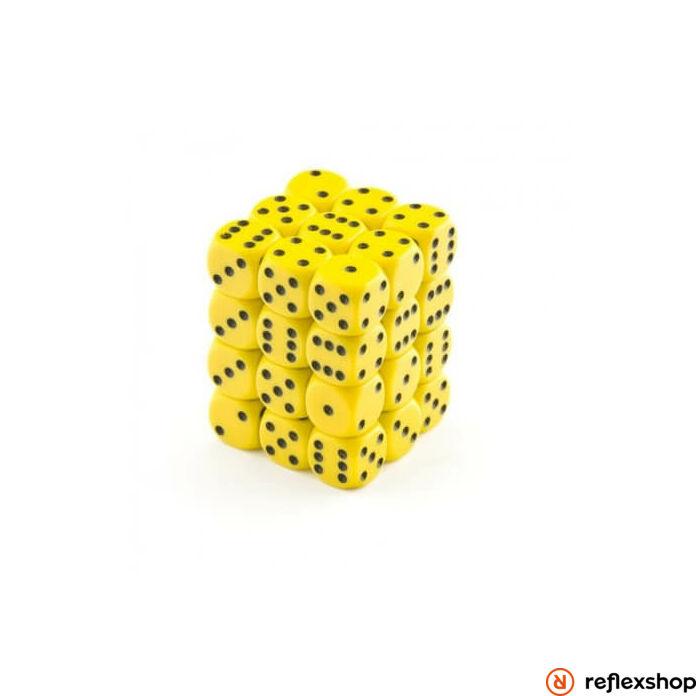 d6 kockablokk, kis kockákkal (36 kocka), sárga, fekete pöttyös