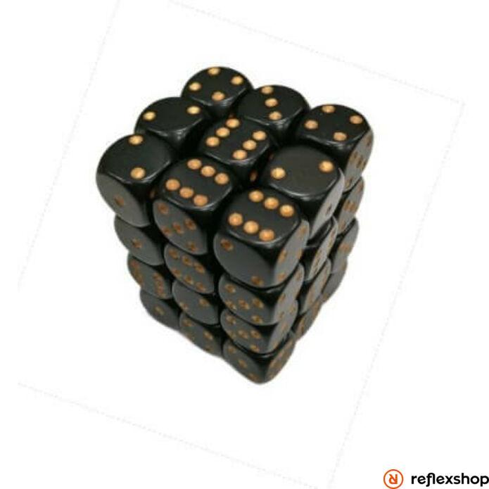 d6 kockablokk, kis kockákkal (36 kocka), fekete, arany pöttyös