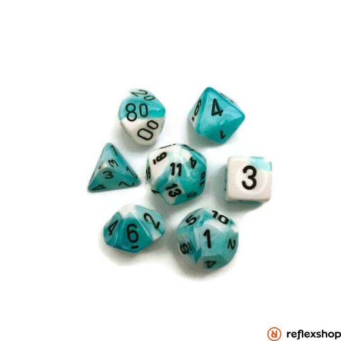 Gemini többoldalú kockaszett (7 kocka), zöldeskék, fekete számokkal