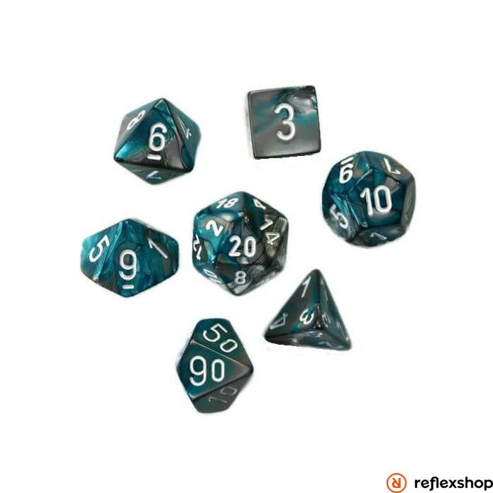 Gemini többoldalú kockaszett (7 kocka), acélkék, fehér számokkal
