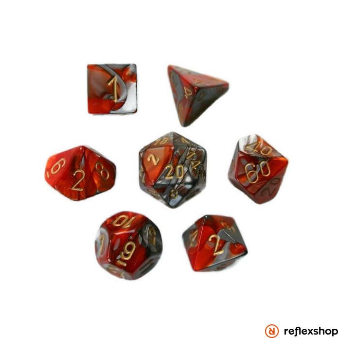 Gemini többoldalú kockaszett (7 kocka), narancs-acél, arany számokkal