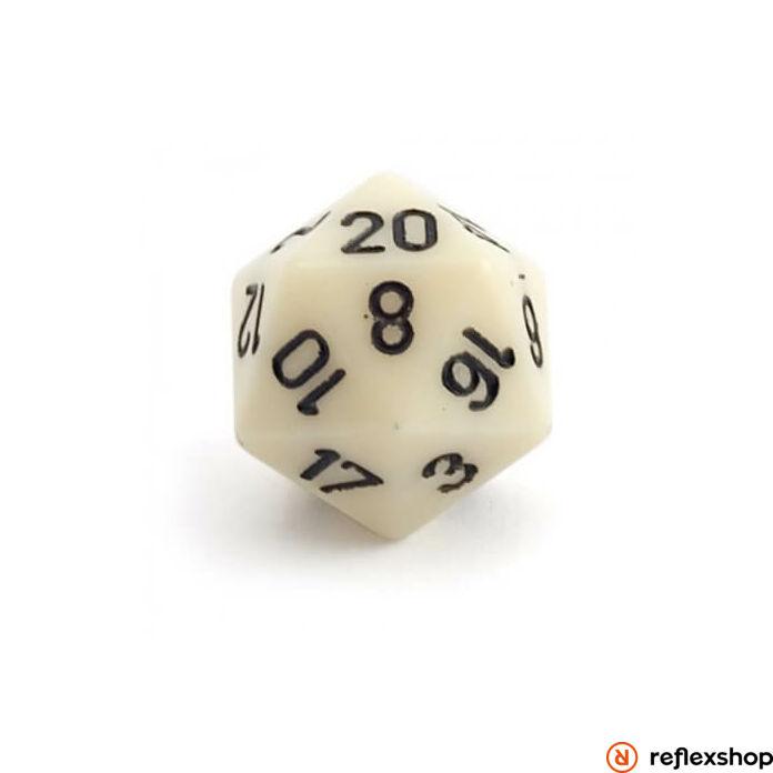 d20 kocka, nagy, elefántcsont, fekete számokkal
