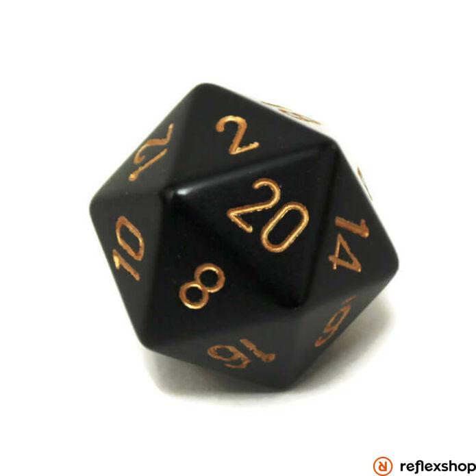 d20 kocka, nagy, fekete, arany számokkal