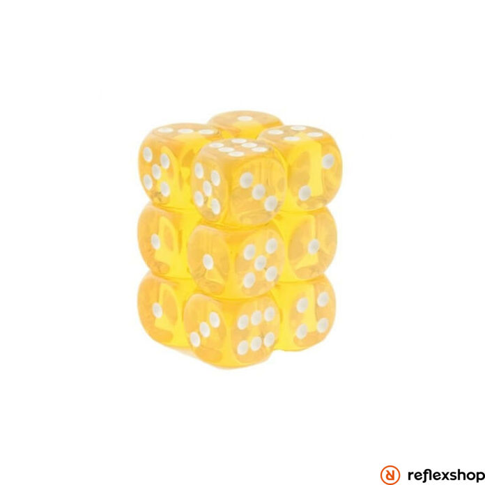 d6 kockablokk (12 kocka), áttetsző sárga, fehér pöttyös