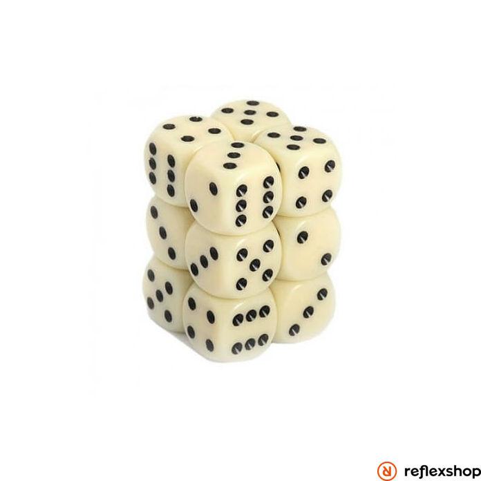 d6 kockablokk (12 kocka), elefántcsont, fekete pöttyös
