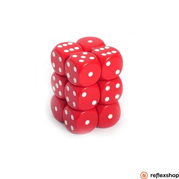 d6 kockablokk (12 kocka), piros, fehér pöttyös