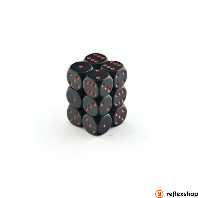 d6 kockablokk (12 kocka), fekete, piros pöttyös