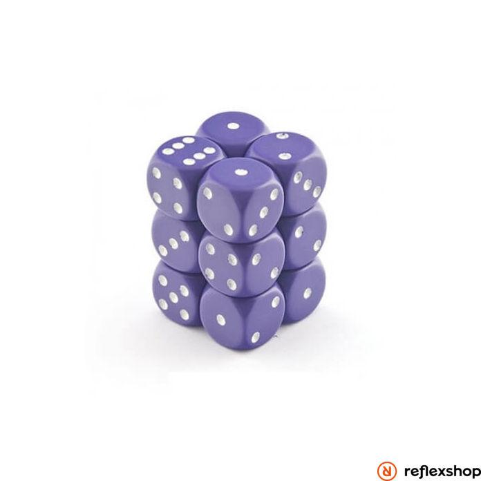 d6 kockablokk (12 kocka), lila, fehér pöttyös