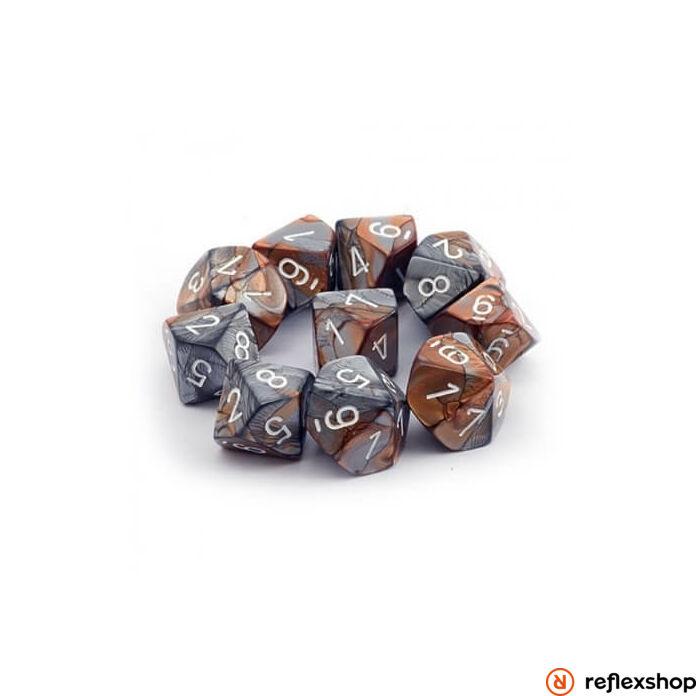 Gemini d10 kockaszett (10 kocka), réz-acél, fehér számokkal