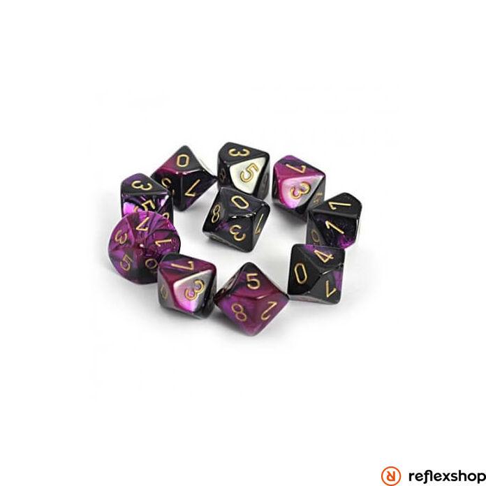 Gemini d10 kockaszett (10 kocka), fekete-lila, arany számokkal