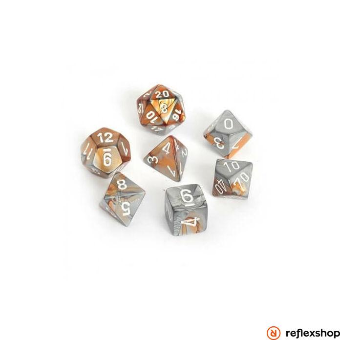 Gemini többoldalú kockaszett (7 kocka), réz-acél, fehér számokkal