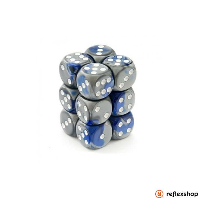 Gemini d6 kockablokk (12 kocka), kék-acél, fehér pöttyös