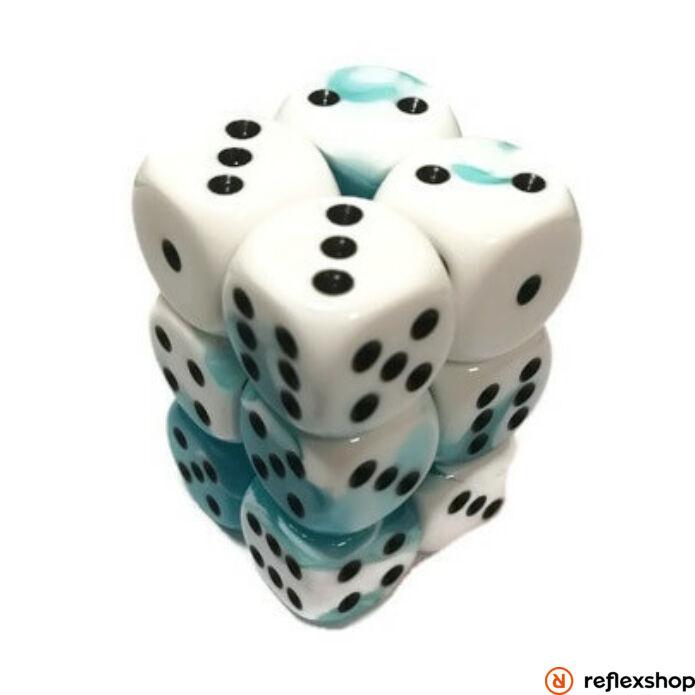 Gemini d6 kockablokk (12 kocka), fehér-kék, fekete pöttyös