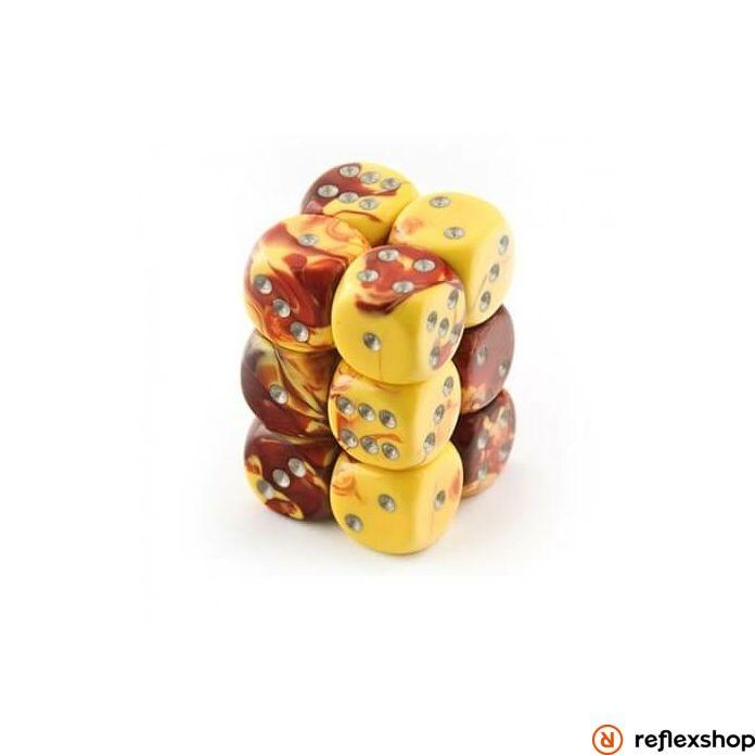 Gemini d6 kockablokk (12 kocka), piros-sárga, ezüst pöttyös
