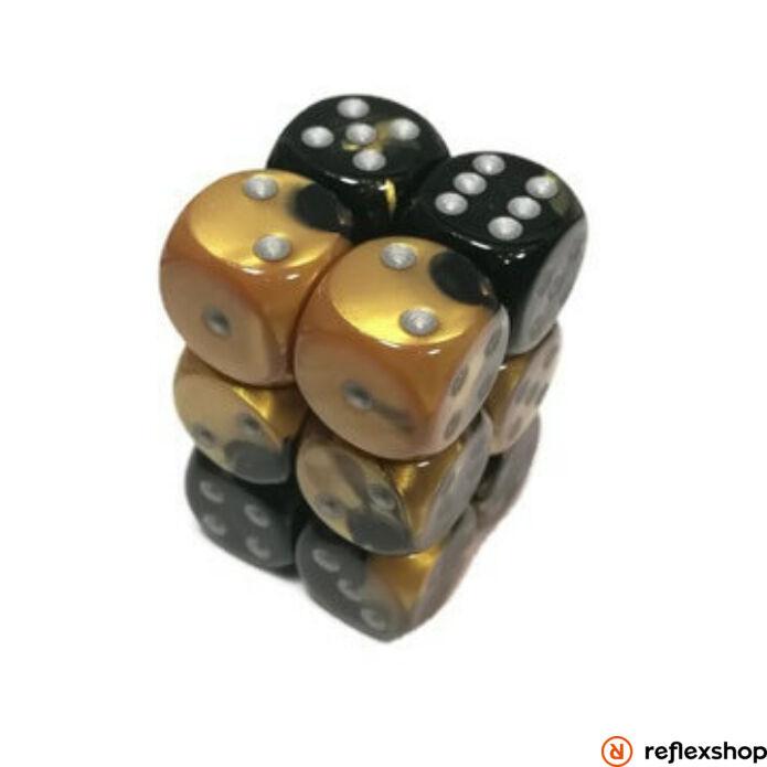 Gemini d6 kockablokk (12 kocka), fekete-arany, ezüst pöttyös
