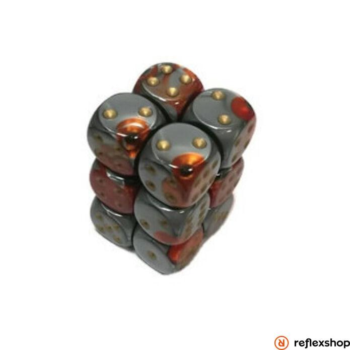 Gemini d6 kockablokk (12 kocka), narancs-acél, arany pöttyös