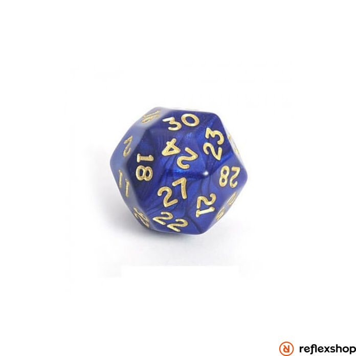 d30 kocka vibráló kék, arany számokkal