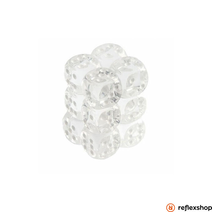 d6 kockablokk (12 kocka), áttetsző, fehér pöttyös