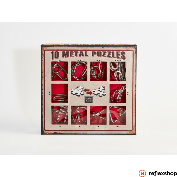10 Metal Puzzle ördöglakat szett, piros *-***