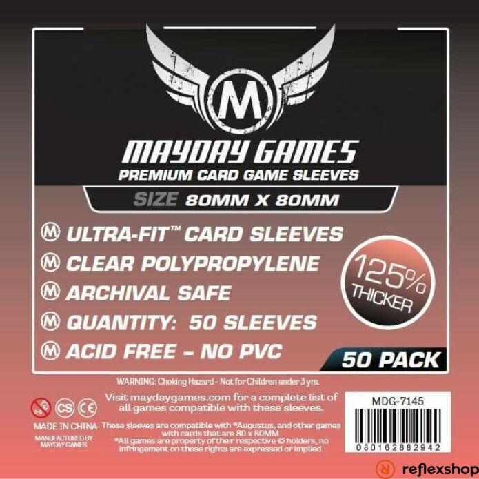 Mayday Games Prémium közepes négyzet kártyavédő 80 x 80 mm (50 db-os csomag)