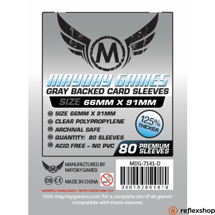 Mayday Games Kártyavédő kártyajátékokhoz (80 db-os csomag) 66 x 91 mm (szürke hátlap)