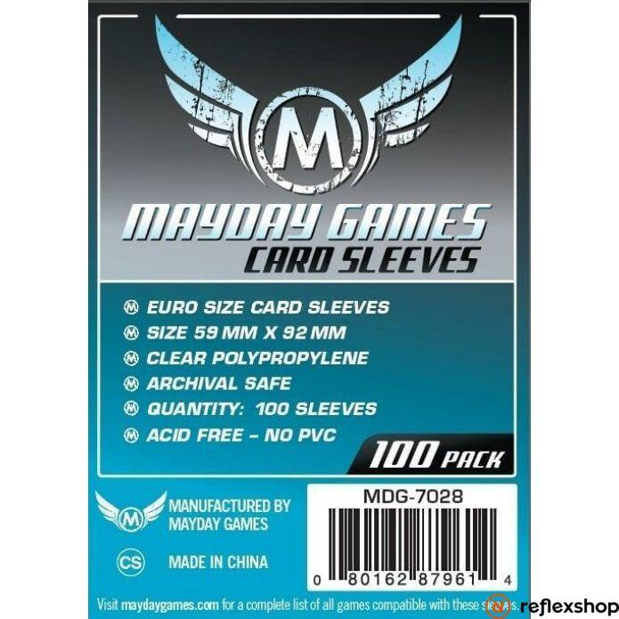Mayday Games Euro méretű kártyavédő (100 db-os szett), 59 mm x 92 mm