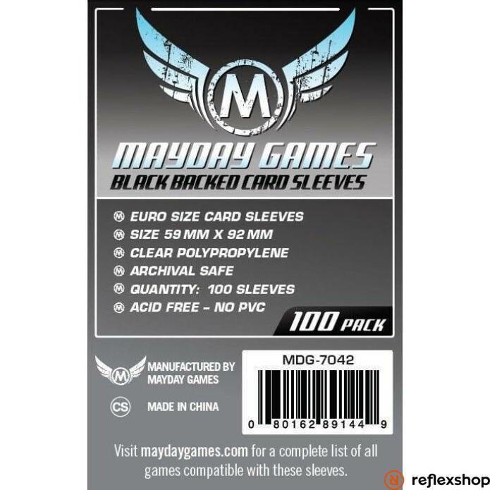 Mayday Games Euro méretű kártyavédő (100 db-os csomag) 59 mm x 92 mm, fekete hátlap
