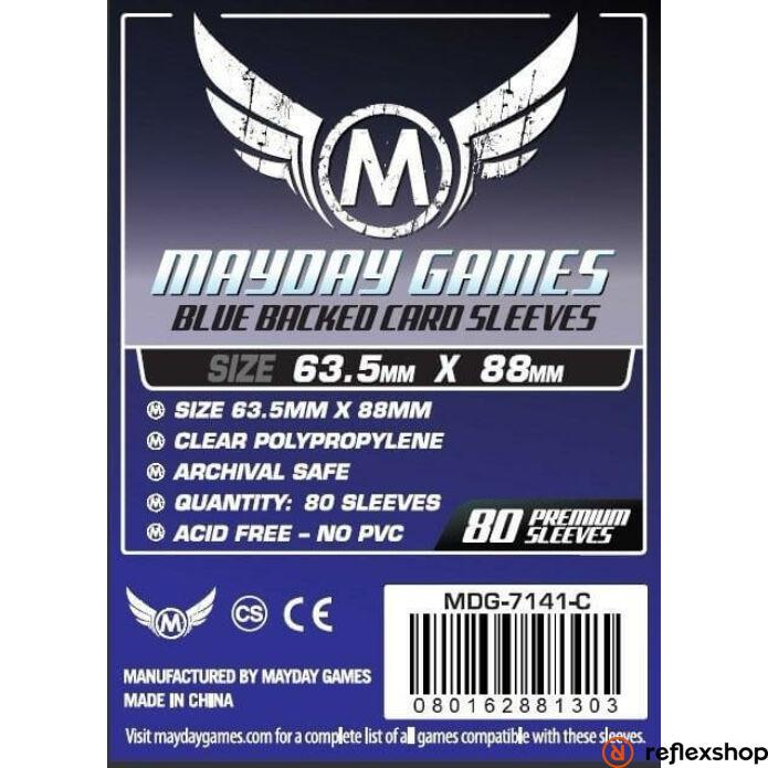 Mayday Games Kártyavédő kártyajátékokhoz (80 db-os csomag) 63.5 x 88 mm (kék hátlap)