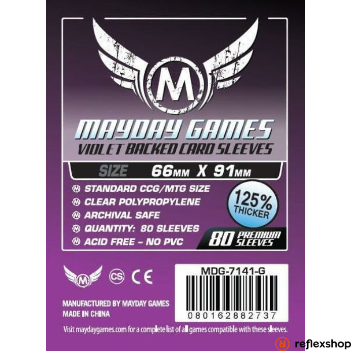 Mayday Games Kártyavédő kártyajátékokhoz (80 db-os csomag) 63.5 x 88 mm (lila hátlap)