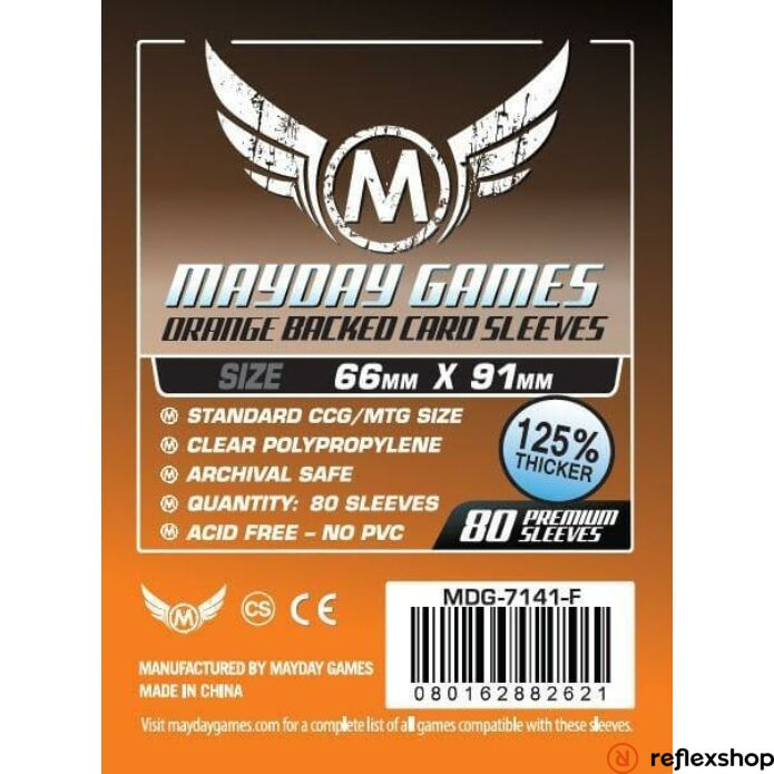 Mayday Games Kártyavédő kártyajátékokhoz (80 db-os csomag) 66 x 91 mm (narancs hátlap)