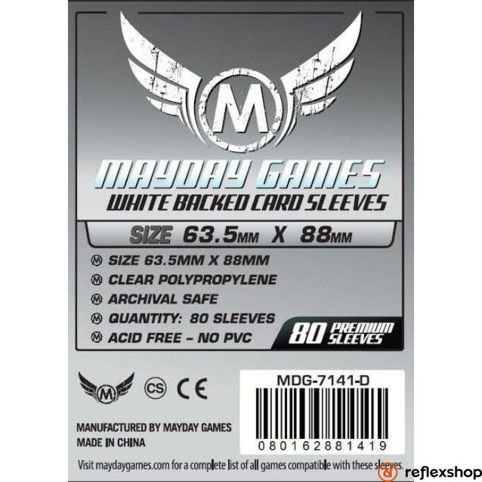 Mayday Games Kártyavédő kártyajátékokhoz (80 db-os csomag) 63.5 x 88 mm (szürke hátlap)