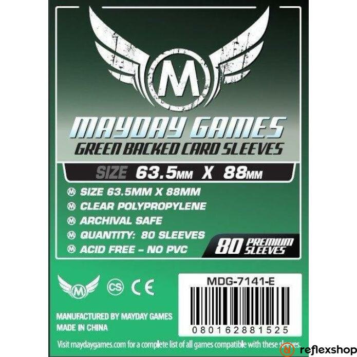 Mayday Games Kártyavédő kártyajátékokhoz (80 db-os csomag) 63.5 x 88 mm (zöld hátlap)
