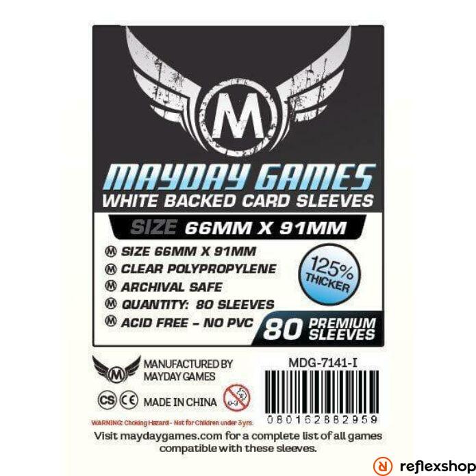 Mayday Games Kártyavédő kártyajátékokhoz (80 db-os csomag) 63.5 x 88 mm (fehér hátlap)