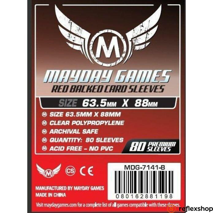 Mayday Games Kártyavédő kártyajátékokhoz (80 db-os csomag) 63.5 x 88 mm (piros hátlap)