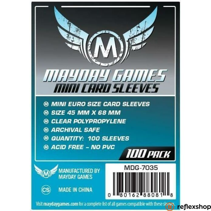 Mayday Games Mini Euro méretű kártyavédő (100 db-os csomag) 45 mm x 68 mm