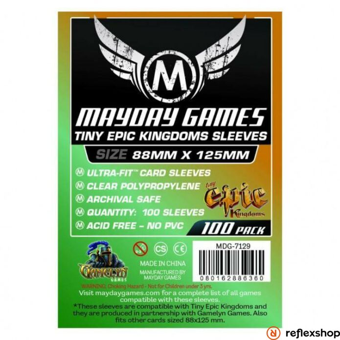 Mayday Games Mayday Egyedi Tiny Epic Kingdoms kártyavédő 88 x 125 mm (100 db-os csomag)