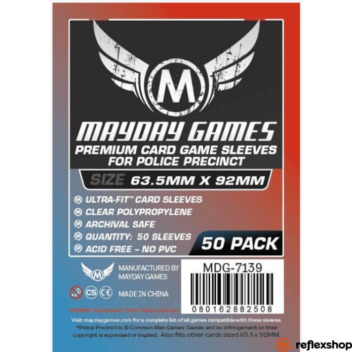 """Mayday Games Prémium Egyedi """"Police Precinct"""" kártyavédő 63,5 x 92 mm (50 db-os csomag)"""