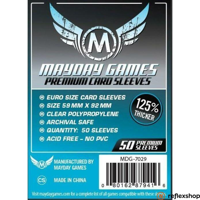 Mayday Games Premium Euro méretű kártyavédő (50 db-os csomag), 59 mm x 92 mm